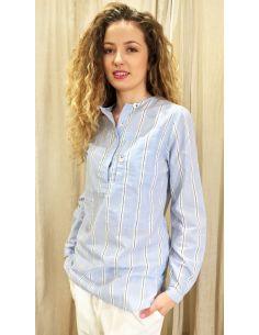 Laurence Bras chemise liquette droite PRIMARY coton imprimé mens stripes