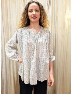 laurence Bras shirt CIGAR cotton & silk flowers