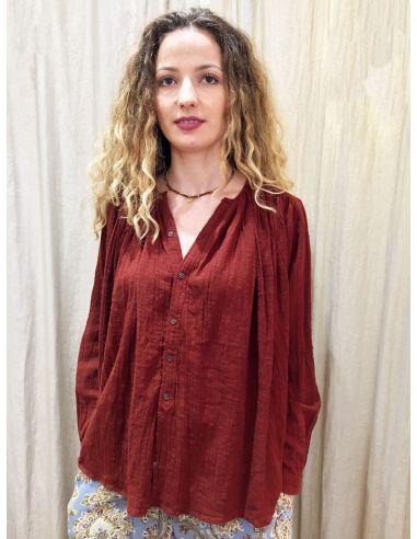 Laurence Bras shirt CIGAR cotton plissée Rust