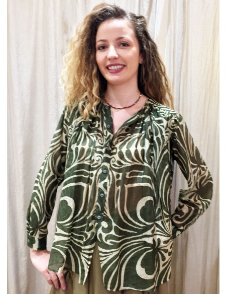 Laurence Bras chemise cigar coton & soie plissée imprimé tile green