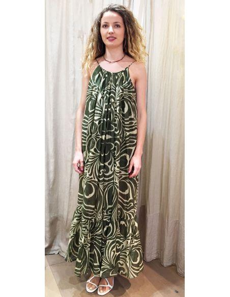 laurence Bras Long dress SAINT TROPEZ straps cotton & silk tile green