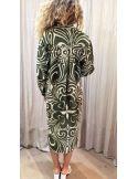 Laurence Bras Robe oversize PICASSO coton & soie plissée imprimé tile green