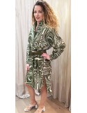 laurence Bras dress PICASSO cotton & silk tile green