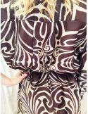 Laurence Bras Robe oversize PICASSO coton & soie plissée imprimé tile brown