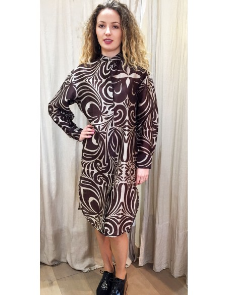 laurence Bras dress PICASSO cotton & silk tile brown