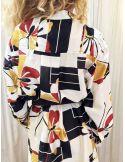 Laurence Bras Robe oversize PICASSO coton & soie plissée imprimé butterfly