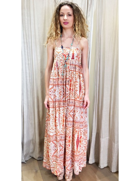 VDeVINSTER long dress JOHN DRESS coton orange print