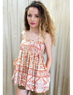VDeVINSTER long top Jstraps OHN TOP coton orange print