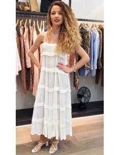 VDeVinster Robe longue bretelles FRILL DRESS coton ecru