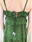 VDeVinster Robe longue bretelles FRILL DRESS coton verte