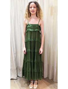 VDeVinster Robe longue bretelles FRILL DRESS coton verte