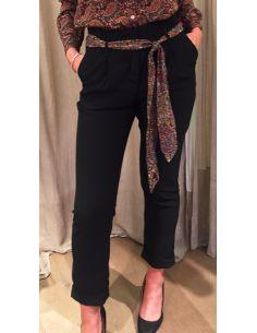 MysundayMorning pantalon avec cravatte en soie