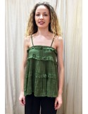VDeVINSTER long top with straps FRILL TOP coton green