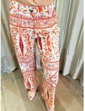 VDeVinster pantalon évasé JOHN PANTS coton imprimé orange