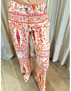 VDeVINSTER trouser JOHN PANT coton orange print