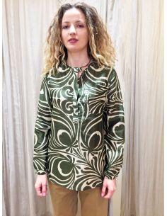 Laurence Bras chemise liquette droite PRIMARY coton & soie tile green (vert olive & ecru)