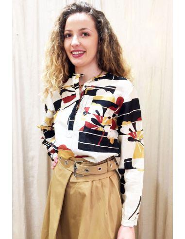 Laurence Bras chemise liquette droite PRIMARY coton & soie butterfly ( ecru)