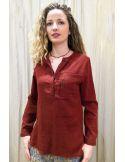 Laurence Bras chemise liquette droite PRIMARY coton uni bordeaux