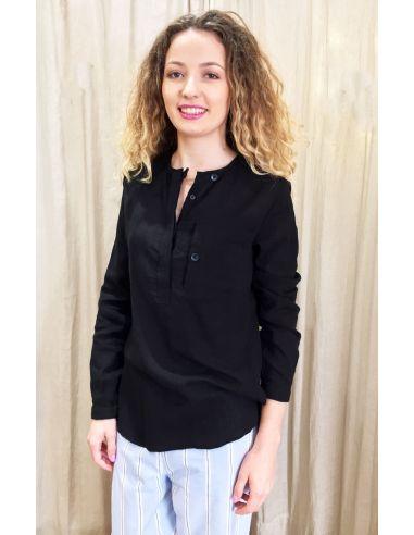 Laurence Bras chemise liquette droite PRIMARY coton uni noir