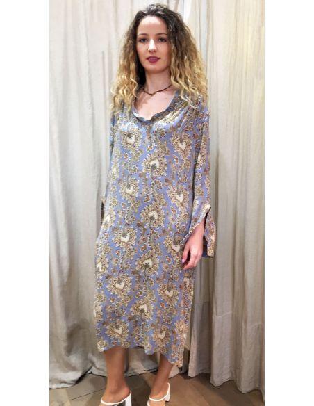 Laurence Bras robe ample SHORE william print (bleu acier)