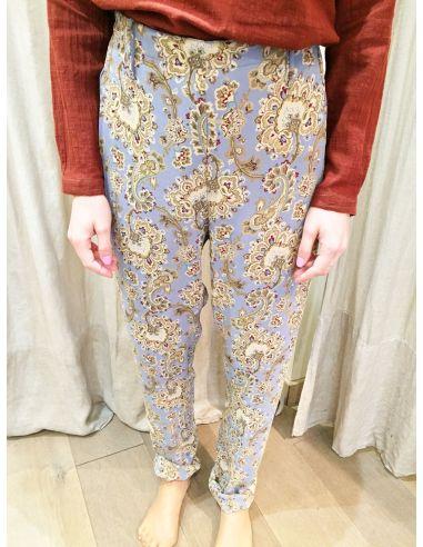 Laurence Bras  pantalon souple STATUE viscose william print (bleu acier)