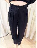 Laurence Bras pantalon large taille haute MOJITO coton noir