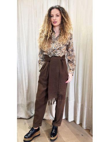 Laurence Bras pantalon large taille haute MOJITO coton marron