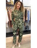 Laurence Bras pantalon large taille haute MOJITO coton et soie imprimé tile green