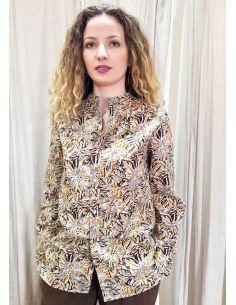 Laurence Bras chemise liquette droite PADDLE coton imprimé marron