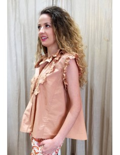 VDeVINSTER shirt EMBISA top coton terracota