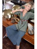 VDeVinster Robe longue TIE&DIE dress kaki charcoal