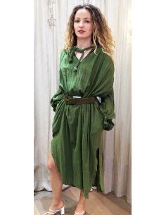 Laurence Bras robe longue IQUOS coton plissée mousse (vert)