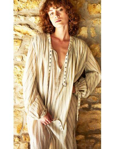 Laurence Bras robe longue IQUOS coton plissée sunbath strippes