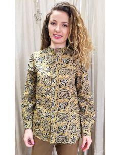 Laurence Bras chemise liquette droite PADDLE coton imprimé jaune