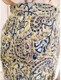 Laurence Bras Jupe longue Tune voile de viscose plissée jaune imprimé