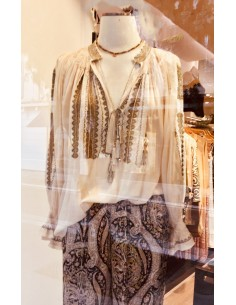 Laurence Bras shirt SHAHI ecru embroidered