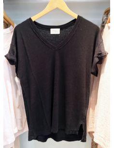 My Sunday Morning Tshirt AMORE linen black