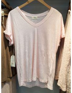 My Sunday Morning Tshirt AMORE linen light pink