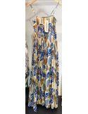 VDeVinster Robe longue bretelles JOHN DRESS coton imprimé Ikat bleu et gold