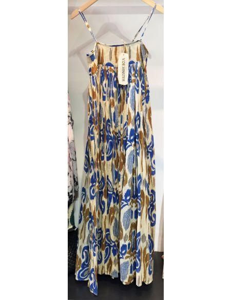 VDeVINSTER long dress JOHN DRESS coton Blue & gold Ikat print