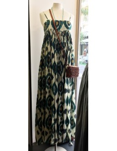 VDeVINSTER long dress JOHN DRESS coton grren & gold Ikat print