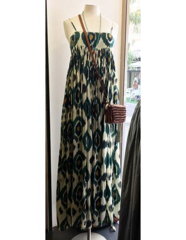 VDeVinster Robe longue bretelles JOHN DRESS coton imprimé Ikat vert et gold