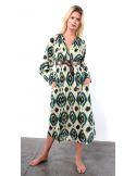 VDeVinster Robe longue IKAT DRESS coton imprimé Ikat vert et gold