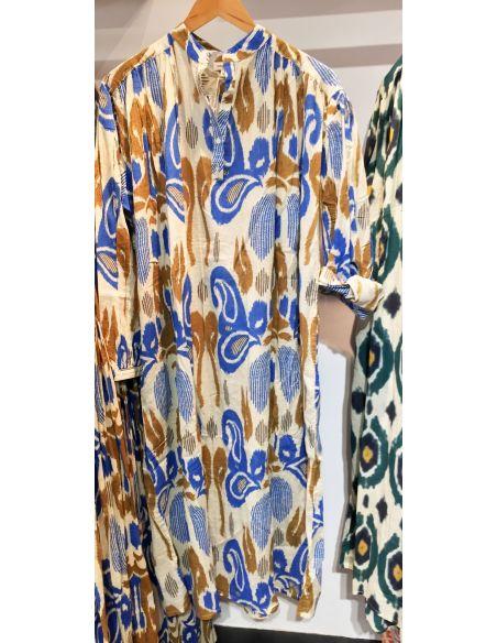 VDeVinster Robe longue IKAT DRESS coton imprimé Ikat bleu et gold