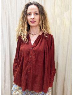 Laurence Bras Shirt CIGAR cotton loose rust