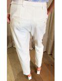Laurence Bras pantalon droit JALOUSIE piqué de coton blanc