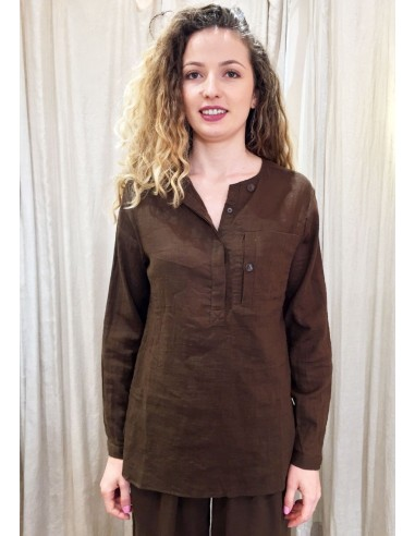 Laurence Bras Straight shirt PRIMARY cotton brown