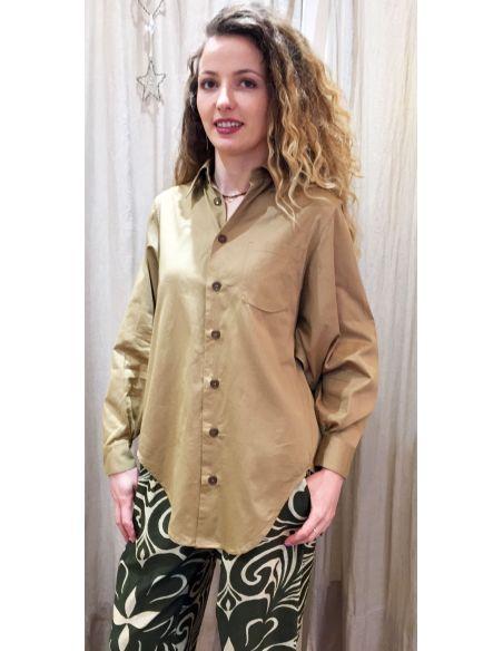 Laurence Bras Oversize loose SHIRT COSTAS cotton beige