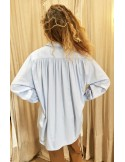 Laurence Bras Oversize loose SHIRT COSTAS cotton blue