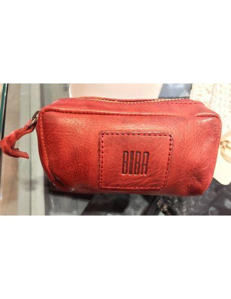 BIBA porte monnaie clés cuir vintage KANSAS KA6 noir cognac rouge